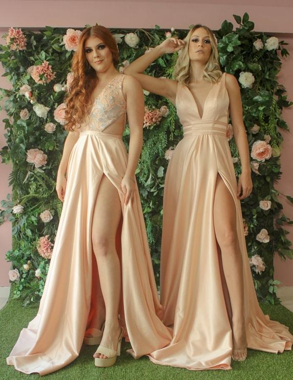 vestido de festa longo rosa antigo para madrinha de casamento