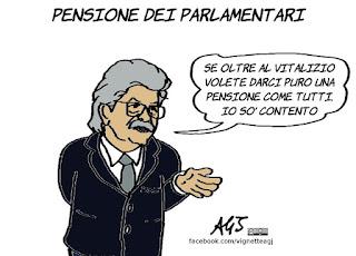pensioni, vitalizio, parlamentari, razzi, m5s, una pensione come tutti, vignetta, satira