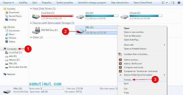cara format flashdisk di windows 10