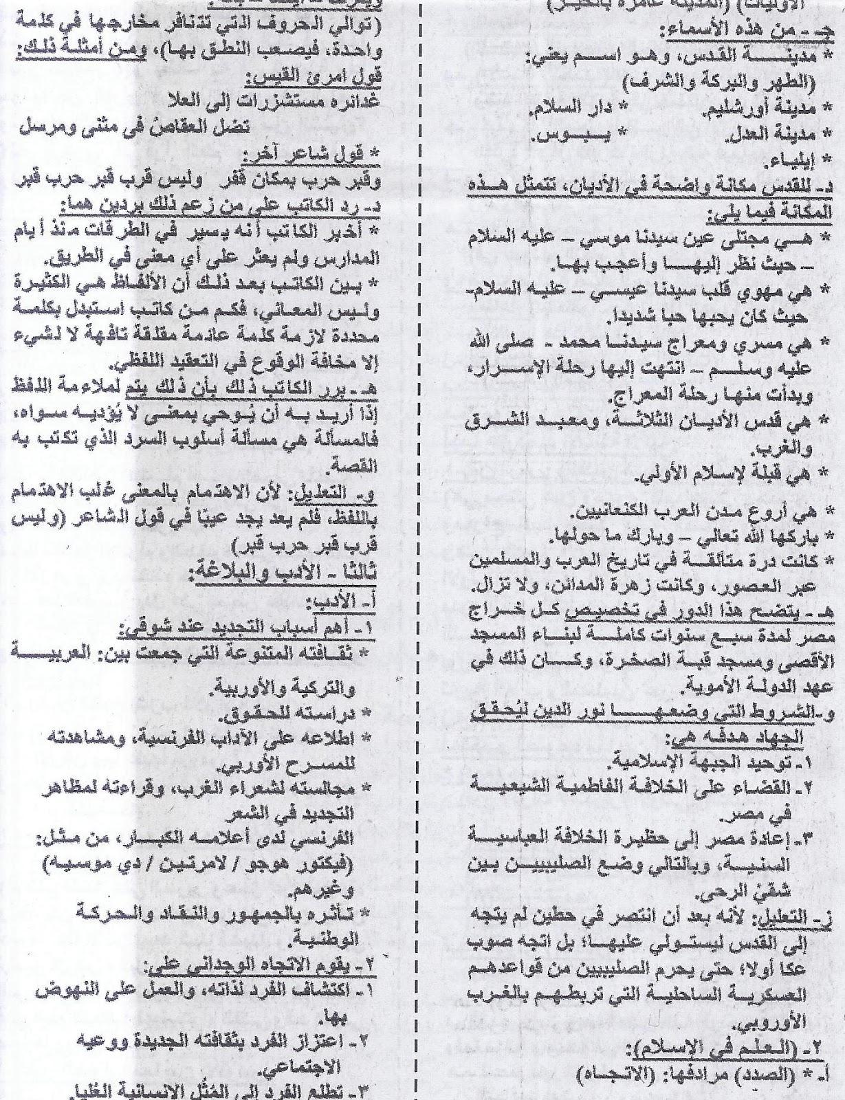 ملحق الجمهورية .. ينشر المراجعة الاخيرة لغة عربية للثانوية العامة 2016 15