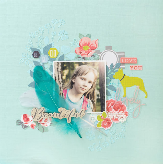 Scrapbooking layout for 123 Get Scrappy March: Love you, beautiful