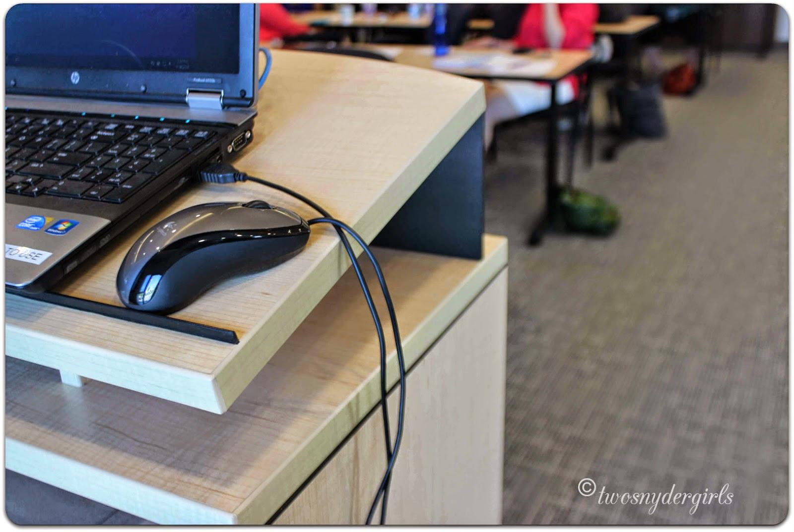 computer on a podium