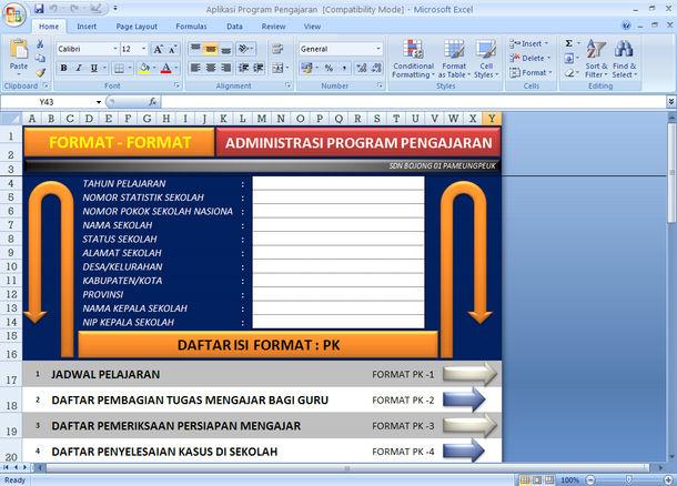 Aplikasi Format Administrasi Program Pengajaran dengan Microsoft Excel