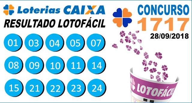 Resultado da Lotofácil concurso 1717 de 28/09/2018 (Imagem: Informe Notícias)