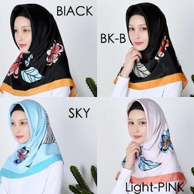 Jilbab Segi Empat Motif Bunga Cantik Velvet Maxmara Satin Warna Hitam