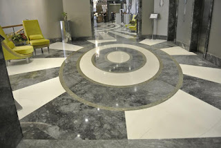 marble and silver floor mosaic