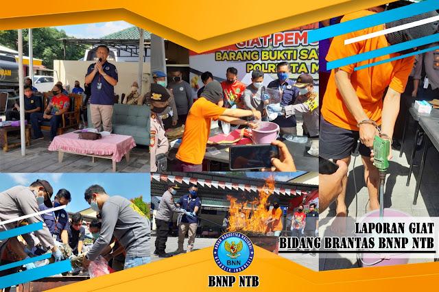 Sabu 3.064,99 grm Dan Ganja 6.416grm Dimusnahkan Satresnarkoba POLRESTA Mataram