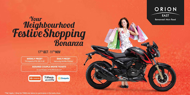 Your Neighbourhood Festive shopping bonanza @ Orion East Mall, Banaswadi Main Road, It's raining gifts
