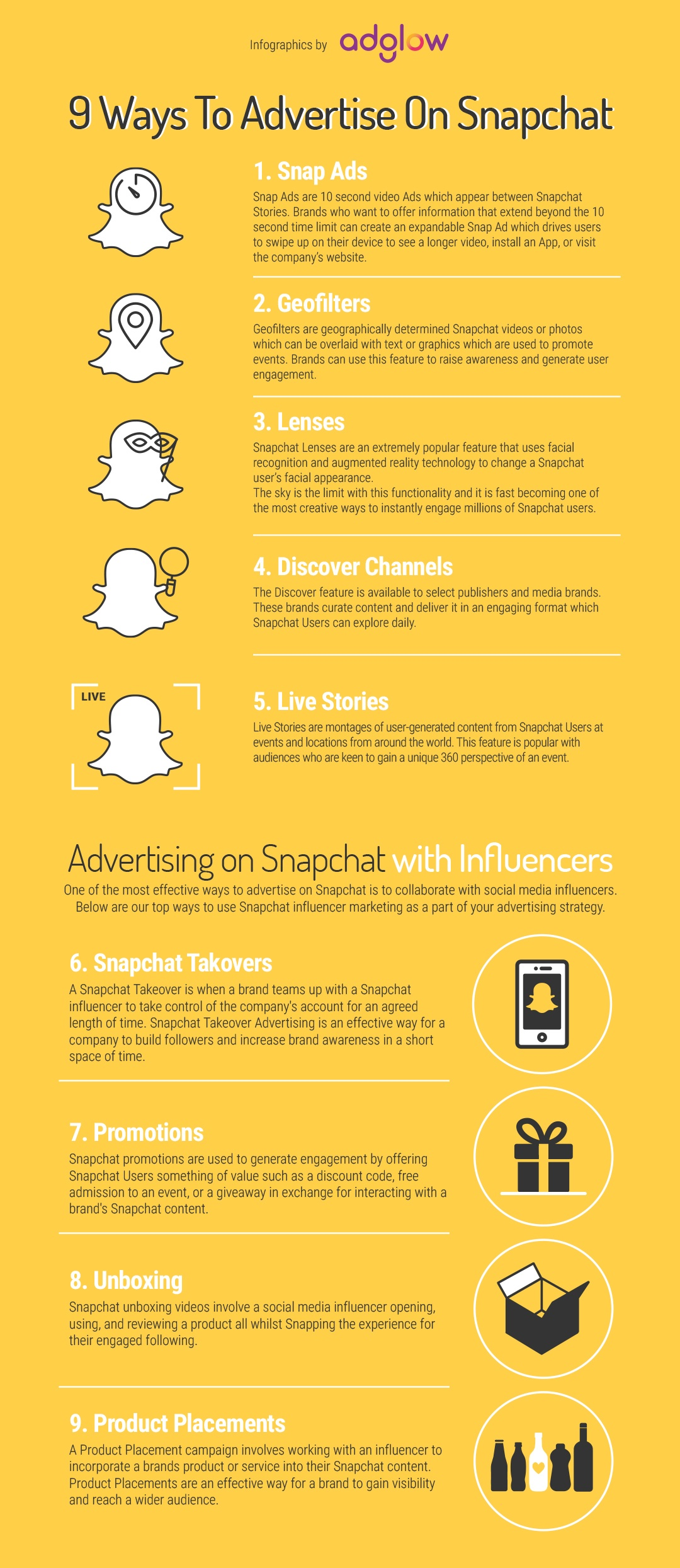 9 Ways To Advertise On Snapchat #infographic
