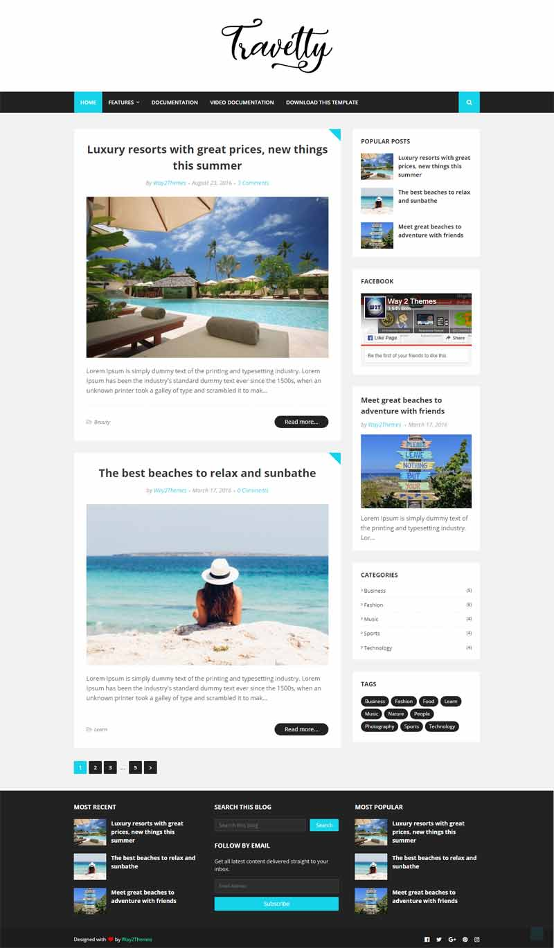 Travelty simple and clean blogger template