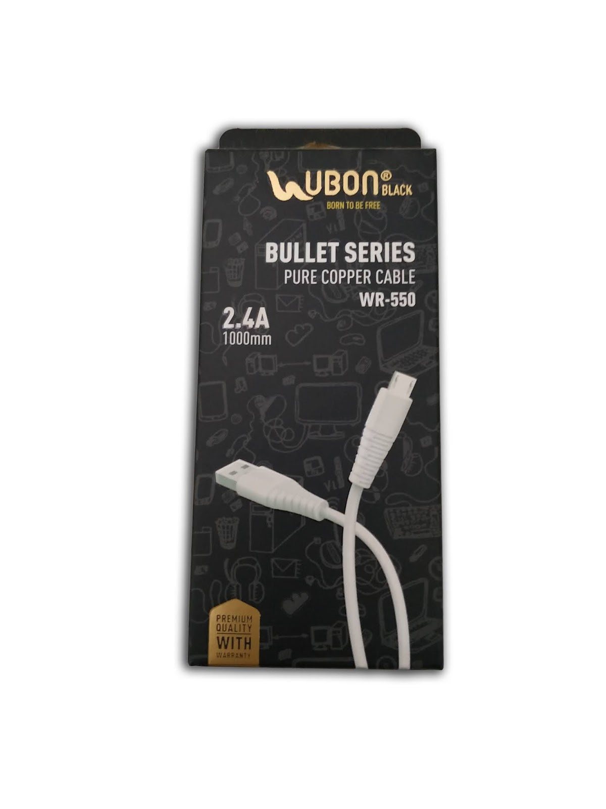 Ubon Bullet Series WR-550 Pure Copper Cable 2.4A Dual Use V8 Charger Cable Or Data Cable (White, Black)