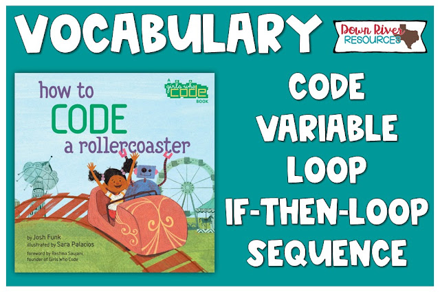 Vocabulary for How to Code a Rollercoaster: code, variable, loop, if-then-loop, sequence