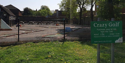 Crazy Golf course at The Grove Park in Carshalton. Photo by Seth Thomas, 24 April 2020