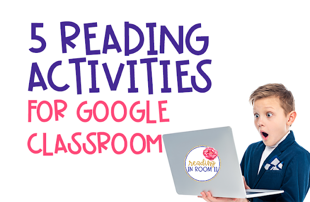 Google Classroom is an amazing resource for both students and teachers.  Here are my 5 favorite reading activities using Google Classroom. You can reinforce many skills with these reading resources including phonics, encoding, decoding, and fluency.  These activities are perfect for distance learning. (distance learning, google classroom, reading activities, reading interventions)