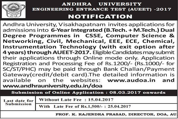 AUEET 2017,AU Engineering Entrance Test 2017 Notification,Schedule