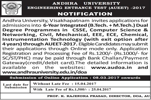 AUEET 2018,AU Engineering Entrance Test 2018 Notification,Schedule