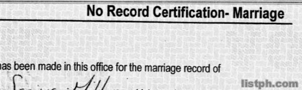 List of Requirements When Getting Certificate of NO Marriage Record