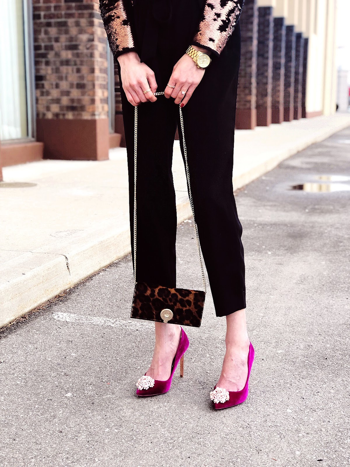 Holiday Party Outfit Ideas with Ted Baker velvet brooch toe pumps and a sequin coat