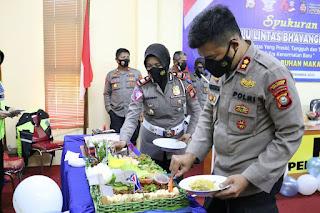 Perayaan Hut Lantas ke 66, Satlantas Polres Pelabuhan Makassar gelar Syukuran Sederhana