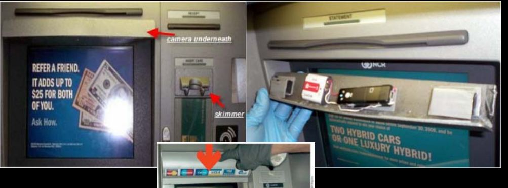 how to look for pin skimmers on bank machines