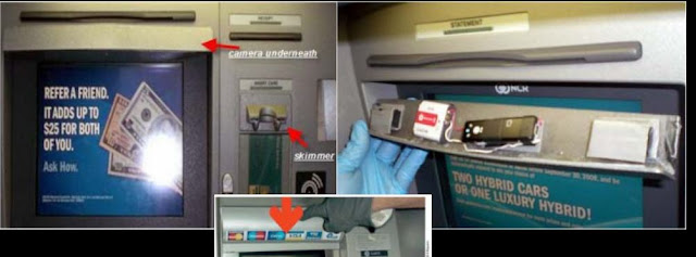 "ATM Skimming is a modus operandi where criminals use an ""ATM skimmer"" - a malicious device attached to an ATM - to steal your money. When you use a compromised ATM machine, the skimmer will copy the information in your card's magnetic strip. A hidden camera or a fake keypad will then capture your PIN as you enter it. If you use ATMs often, then you should be aware of these high tech method criminals use to steal your money easily. It's used to be easy to spot ATM skimmers. But with improving technology, including 3D printing, skimming devices are getting harder to detect. The best you can do is to protect your PIN so ATM skimmers won't be able to capture it. How ATM Skimmers Work  An ATM skimmer has two components. The first is a small device that's generally inserted over the ATM card slot. When you insert your ATM card, the device creates a copy of the data on the magnetic strip of your card. The card passes through the device and enters the machine, so everything will appear to be functioning normally –but your card data has just been copied. The second part of the device is a small camera. A pinhole camera is placed at the top of the ATM's screen, just above the number pad, or to the side of the pad. The camera is facing the keypad and it captures you entering your PIN. The ATM appears to be functioning normally, but the attackers just copied your card's magnetic strip and your PIN. The attackers can use this data to program a bogus ATM card with the magnetic strip data and use it in ATM machines, entering your PIN and withdrawing money from your bank accounts. ATM skimmers are becoming more and more sophisticated. Instead of a device fitted over a card slot, a skimmer may be a small, unnoticeable device inserted into the card slot itself. Instead of a camera pointed at the keypad, the attackers may be using an overlay — a fake keyboard fitted over the real keypad. When you press a button on the fake keypad, it logs the button you pressed and presses the real button underneath. These are harder to detect. Unlike a camera, they're also guaranteed to capture your PIN. ATM skimmers generally store the data they capture on the device itself. The criminals have to come back and retrieve the skimmer to get the data it's captured. However, more ATM skimmers are now transmitting this data over wireless devices like Bluetooth or even cellular data connections. How to Spot ATM Skimmers  Check around the ATM Machine, if there are any devices like modems or routers hidden beside or behind the machine. Take a quick look at the ATM machine. Does anything look a bit out-of-place? Perhaps the bottom panel is a different color or looks new compared to the rest of the machine because it's a fake piece of plastic placed over the real bottom panel and the keypad. Perhaps there's an odd-looking object that contains a camera. Are there visible traces of glue, tape or other sticking materials around edges? Jiggle the Card Reader: If the card reader moves around when you try to jiggle it with your hand, something probably isn't right. A real card reader should be attached to the ATM so well that it won't move around — a skimmer overlaid over the card reader may move around. Examine the Keypad: Does the keypad look a bit too thick, or different from how it usually looks if you've used the machine before? Does it look too clean or too new compared to the machine itself? Normal wear and tear usually makes the keypad dirty and the numbers faded out. A good looking and spotless keypad may be an overlay over the real keypad. Basic Security Precautions here's what you should always do to protect yourself when using any ATM machine:  Avoid using machines in places that are dark, rural, and with very few to no people around. ATMs within the bank premises are generally more safe than those found elsewhere, but this is not always the case. ATMs in malls are also usually safe, unless the location is in a corridor far from view of the people. If you can, check and compare the ATM you are using with the one beside it, to see any difference. If you find some discrepancies, play safe and find another machine. Shield Your PIN With Your Hand, bag or wallet. Learn how to enter the PIN without looking at the pad. This might not protect you against the most sophisticated skimmers that use keypad overlays, but you're much more likely to run into an ATM skimmer that uses a camera — they're much cheaper to purchase. This is the easiest tip you can use to protect yourself. Monitor Your Bank Account Transactions: You should regularly check your bank accounts and credit card accounts online. Check for suspicious transactions and notify your bank as quickly as possible. You want to catch these problems as soon as possible — don't wait until your bank mails you a printed statement a month after money has been withdrawn from your account by a criminal. If your bank has it, subscribe to SMS notifications, whereby you will receive a text message each time a withdrawal or deposit is made on your account. If you suspect that an ATM machine is compromised, report it to the bank or nearest police station. Skimming usually happens around salary and bonus dates, holidays, and days when people usually spend money (school enrollment, bills payment). ATMs in remote areas or areas with very few people are often chosen by criminals to install their skimming devices."