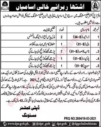 New Jobs in Pakistan Deputy Commissioner Office Mastung Jobs 2021