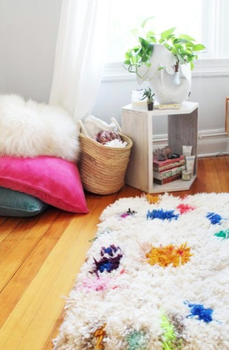 make a yarn shag rug diy
