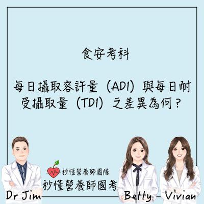 台灣營養師Vivian【秒懂營養師國考】每日攝取容許量(ADI)與每日耐受攝取量(TDI)之差異為何?又ADI是如何訂定的?
