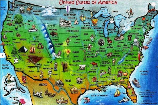 США карта штатов в картинках