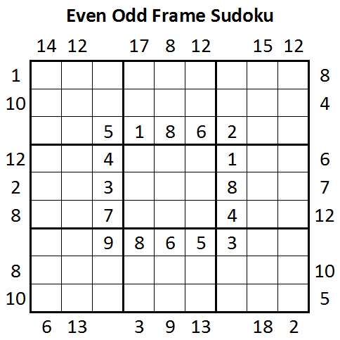 Even Odd Frame Sudoku (Daily Sudoku League #10)
