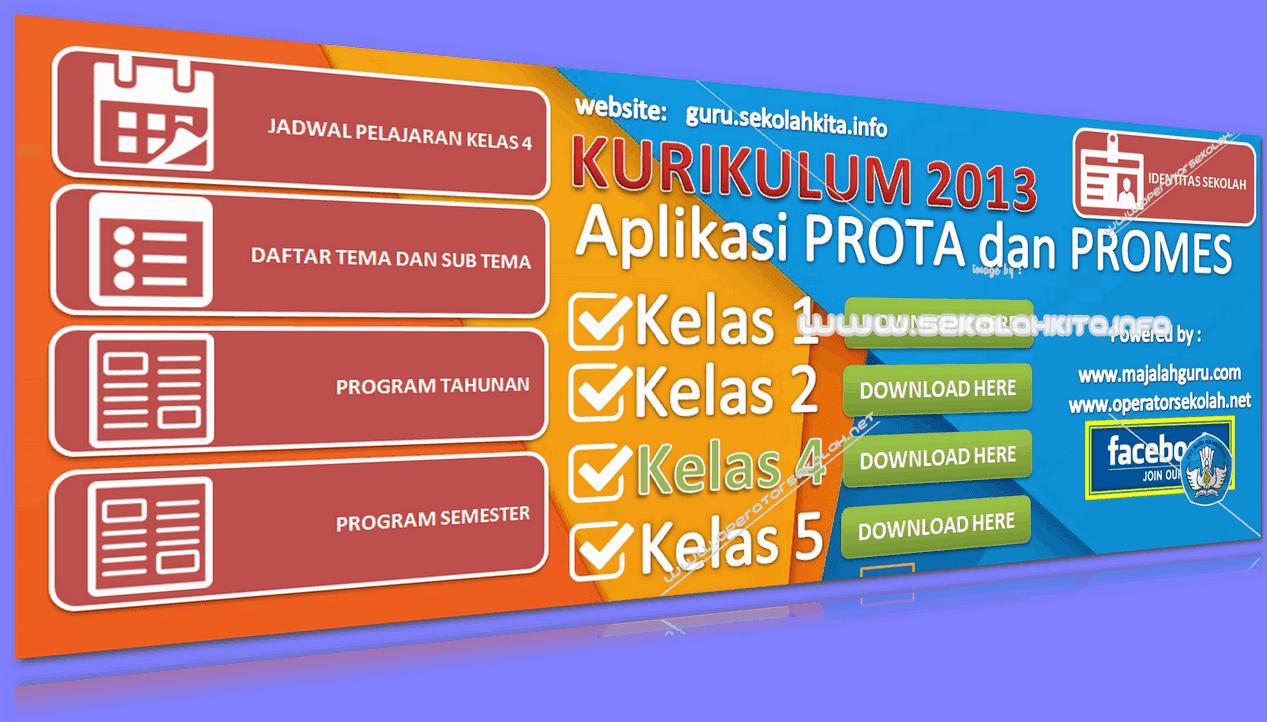 Aplikasi Prota dan Promes Kurikulum 2013 SD Kelas 4 Ditambah Jadwal Pelajaran serta Daftar Tema Subtema