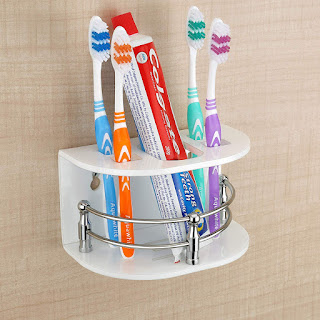 Primax High Grade Tooth Brush Acrylic, Stainless Steel Holder/Stand/Tumbler Holder for Bathroom/Bathroom Accessories for Home (White) - Online Trade DD