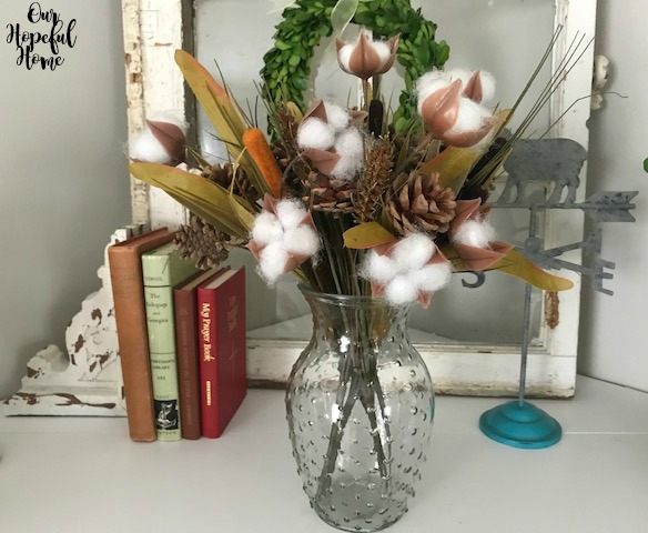 glass vase mantel decor cotton boll stems