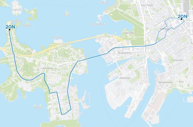 Linja 20N ajaisi Asema-aukiolta, Simonkadulle, josta Kampin ja Ruoholahden läpi Lauttasaaren sillalle, josta Vattuniemen kautta Isokaarelle ja Katajaharjuun. Katajaharjun suunnasta reitti olisi sama paitsi Kampissa bussiterminaalin kautta Asema-aukiolle.