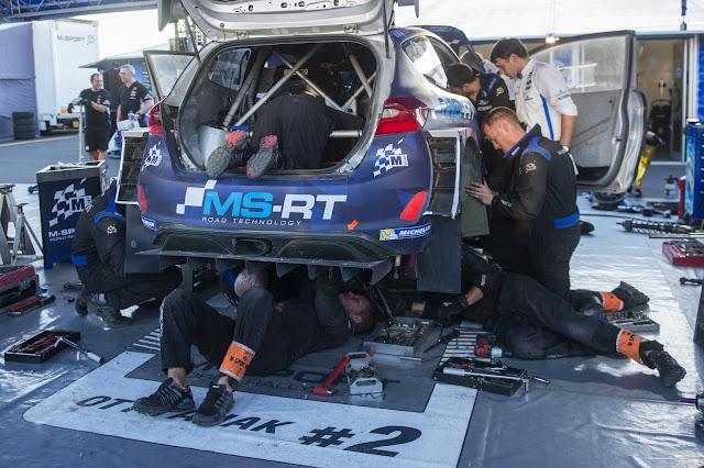 Rally Mechanics setting up M Sport Ford Fiesta WRC Car