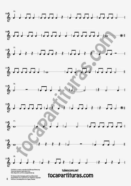 4 Parte 35 Ejercicios Rítmicos para Aprender Solfeo Negras, corcheas, blancas y sus Silencios Compás 4x4 cuatro tiempos Sheet Music for quarter notes, half notes, 1/8 notes and silences