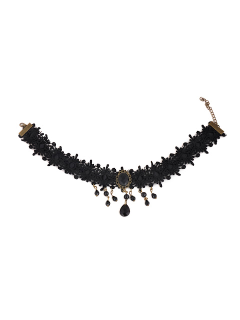#necklace #lace #victorian #black  #bead #chocker Rs.499