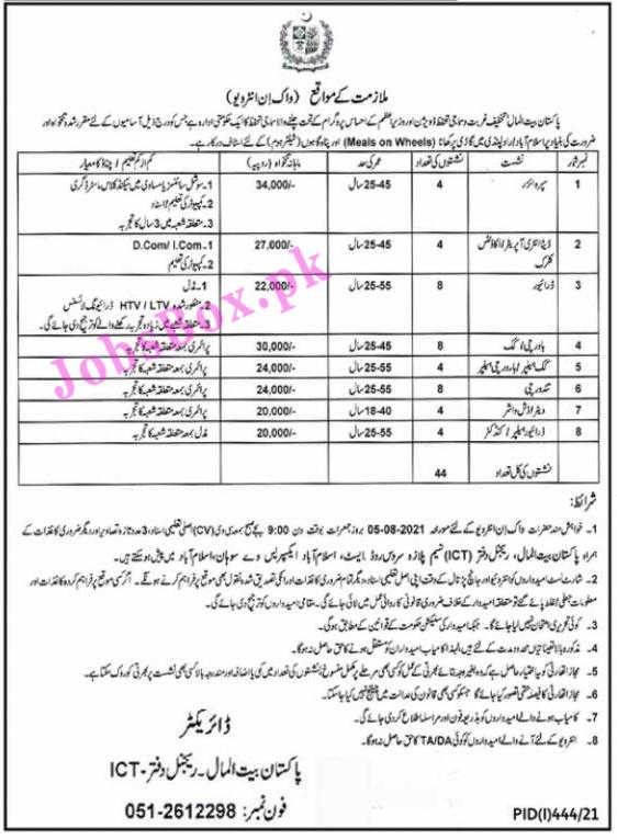 Pakistan Bait ul Mal PBM Jobs 2021 Latest Recruitment