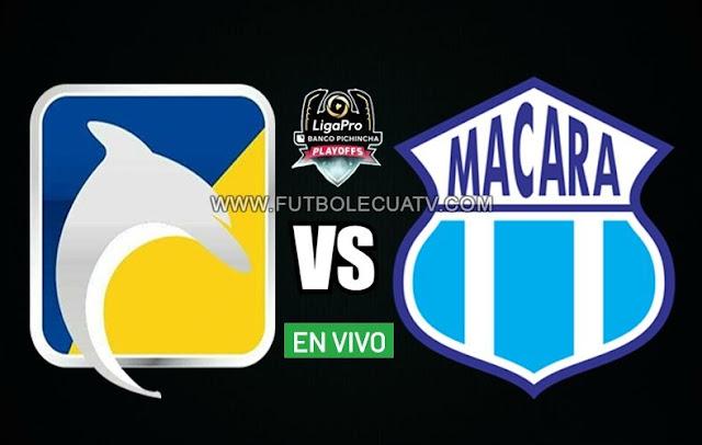 Delfín y Macará se enfrentan en vivo a partir de las 15h30 horario de nuestro país por la semifinal ida Play Off a efectuarse en el estadio Jocay de Manta, teniendo como juez principal a Marlon Vera con transmisión del canal autorizado GolTV Ecuador.