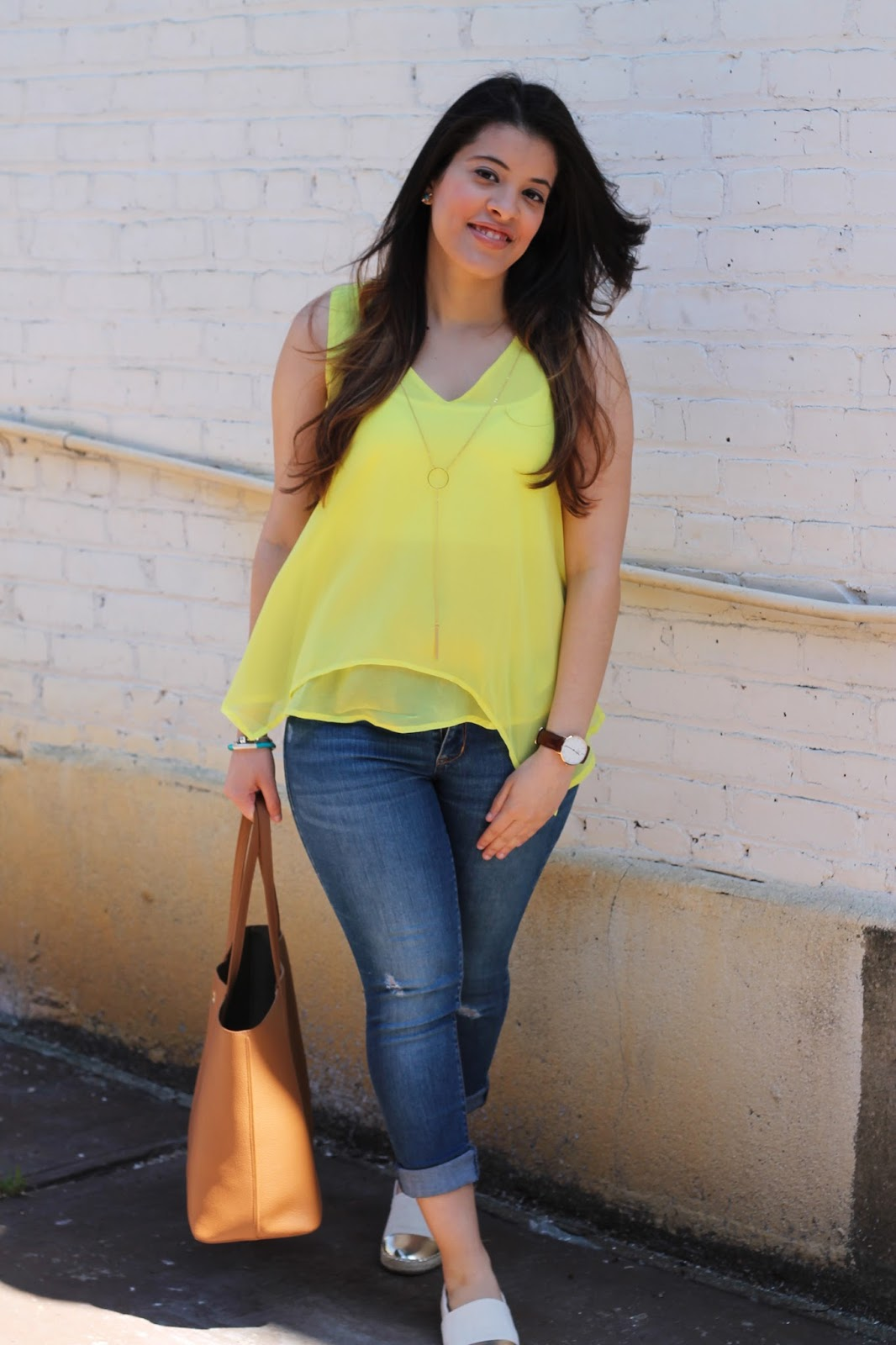 Bright Yellow Chiffon Top and Distressed Jeans.
