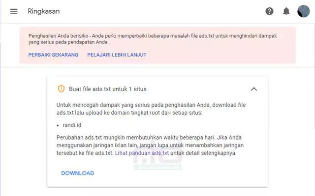 ads.txt untuk domain situs atau blog