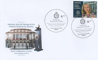 Sobre del matasellos de los Premios Princesa de Asturias 2019