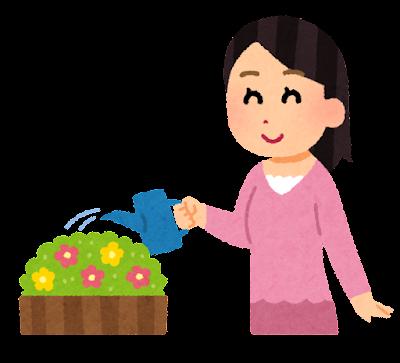 花壇に水をやる女性