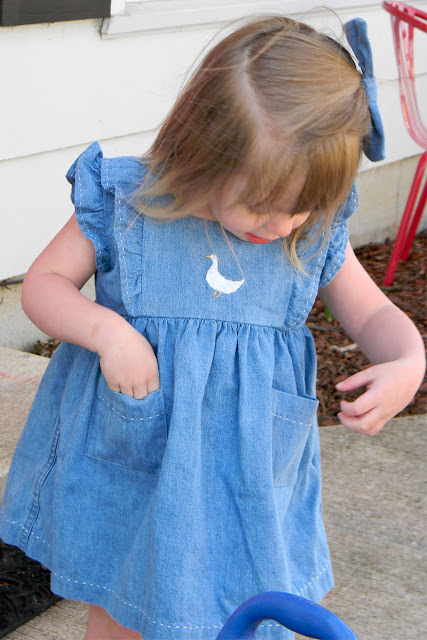Denim Baby dress, handmad dress, spring dress, duckie embroidery