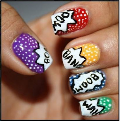 Comic Word Nail Art Designs