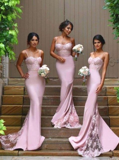 Sweetheart Silk-like Satin Appliques Lace Latest Trumpet/Mermaid Bridesmaid Dresses