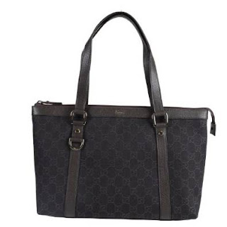 Gucci Women's Brown Canvas Leather Trimmed Guccissima Print Handbag