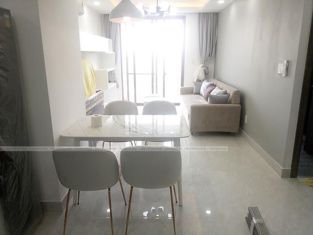 Hình thực tế thiết kế và thi công xây dựng thô đến hoàn thiện full nội thất căn hộ chung cư Saigon South Residences Phú Mỹ Hưng - SSR - Phòng Khách