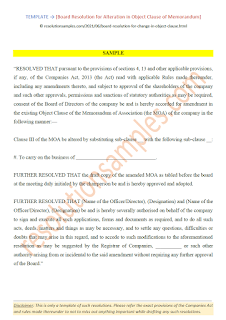 board resolution for change in object clause companies act 2013
