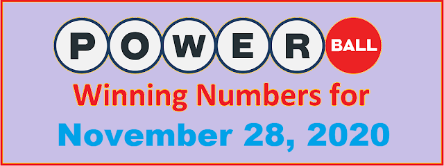 PowerBall Winning Numbers for Saturday, November 28, 2020